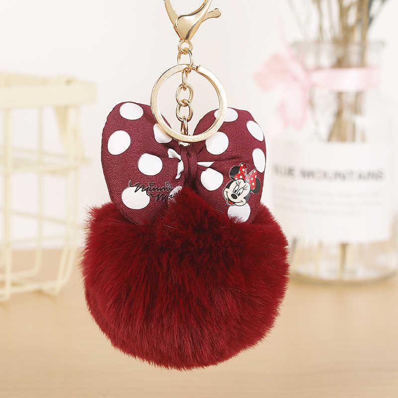 Venda quente imitado pele de coelho mickey pompon bola chaveiro para as mulheres para o carro ou saco chaveiro jóias titular da chave b001