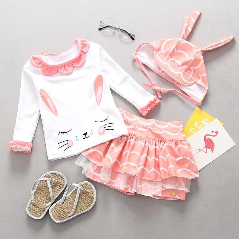 Купальный костюм для детей, бикини с УФ защитой, новый детский купальник для девочек, розовый купальный костюм с оборками и фламинго для маленьких девочек