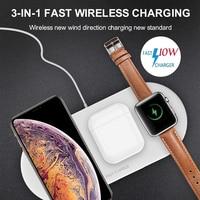 Suporte carregador sem fio 3 em 1 10w  plataforma para carregamento sem fio para iphone  apple watch e airpods estação de almofada