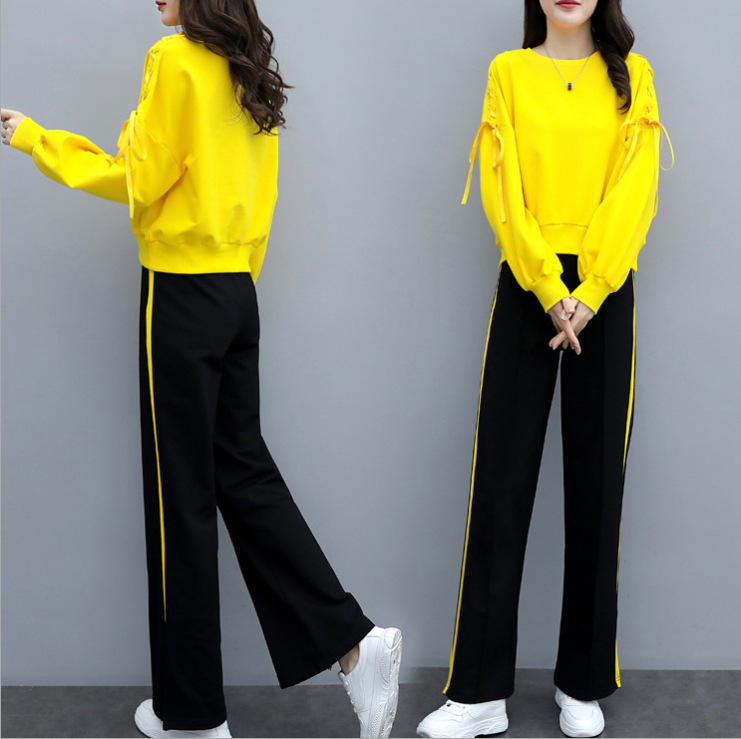 Autumn Winter Sport Two Piece Sets Outfits Tracksuits Women Plus Size Ribbons Sweatshirt And Pants Suits Casual Fashion Sets 32