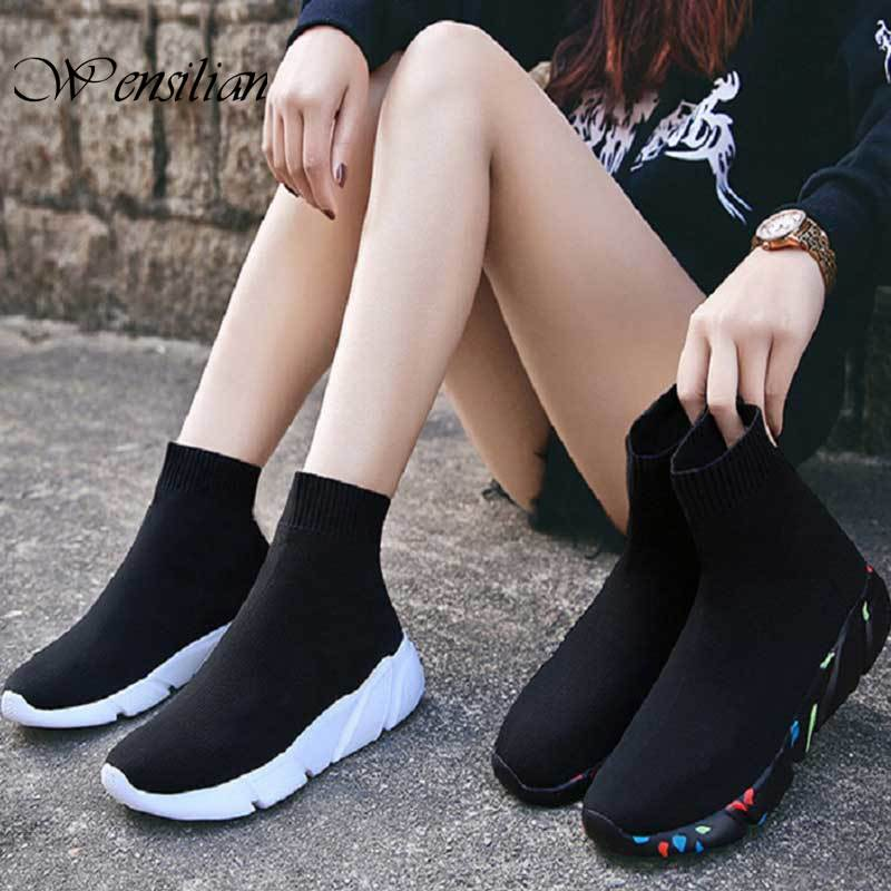 Sneakers for Women Vulcanized Shoes Women Socks Shoes Female Trainers Slip-on Black Sneakers Stretch Mersh Shoes Basket Femme