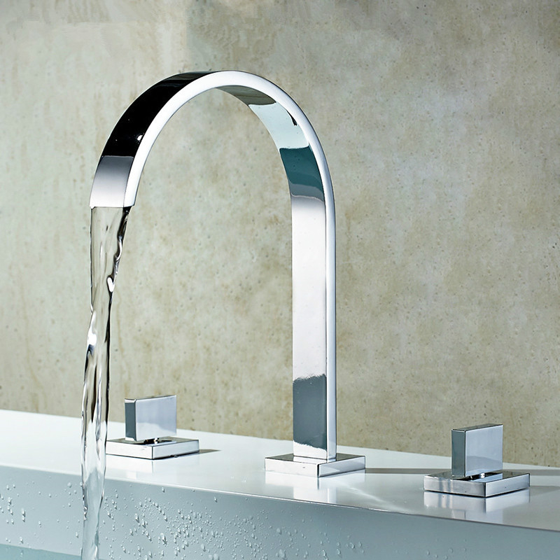 Bathtub Faucets Chrome Polished Water Mixer Deck Mounted Bathroom Sink Faucets 3 Hole Double Handle Hot And Cold Water Tap