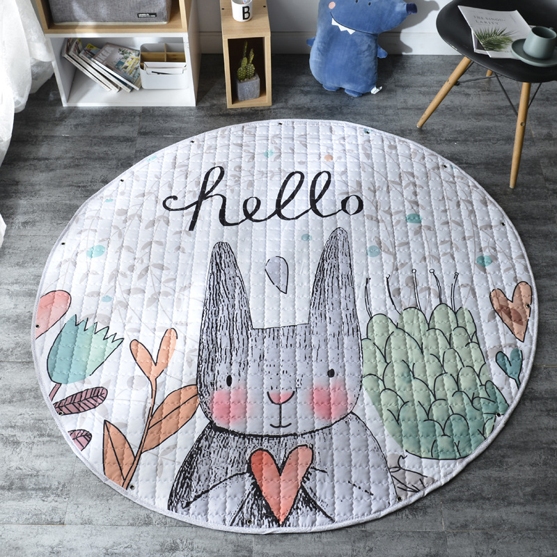 Pink Fancy Kid Soft Carpet Rugs Cartoon Animals Fox Baby Play Mats Child Crawling Blanket Carpet Toys Storage Bag Kids Room Decoration Nursery Kolenik Décor