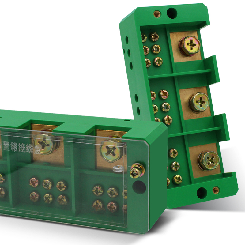 1pcs Connection Distribution Box 3-in 9-out Three phase Green Terminal Block Row Junction Metering Box Part Line image
