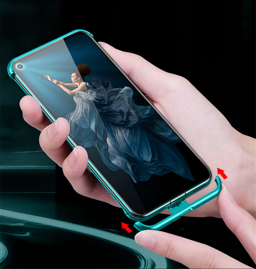 R-just Borderless Series Metal Frame Phone Case For Huawei Honor 20 Protect Case Glass Back Cover Cases For Huawei Honor 20 Pro (4)