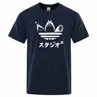 Camiseta con estampado de Totoro No Face para hombre, Camiseta con estampado de animé japonés para hombre, camiseta casual de verano de algodón fresco