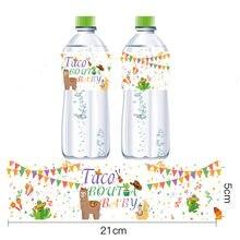 Taco'Bout A Baby – étiquette pour bouteille d'eau minérale, décor de fête d'anniversaire en alpaga, Cactus mexicain, fournitures autocollantes, 12 pièces