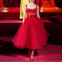 High End Prom Gowns Red Spaghetti Robe De Soiree Formal Dresses Tulle Customized abiye vestido de festa longo Woman Formal Dress