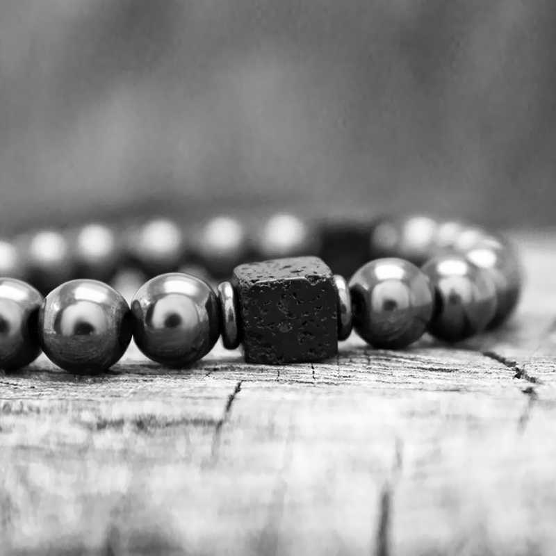 Men Bracelet Natural Matte Stone Hematite Beads Bracelets For Women Vintage Differ Handmade Customized Bracelets Homme 2019 Gift