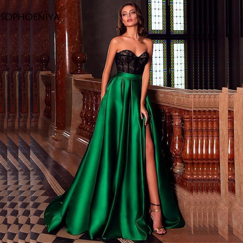 New Arrival Green Long Evening Dresses 2020 Black Lace Evening Gowns Ever Pretty Vestido Festa Longo Muslim Evening Dress