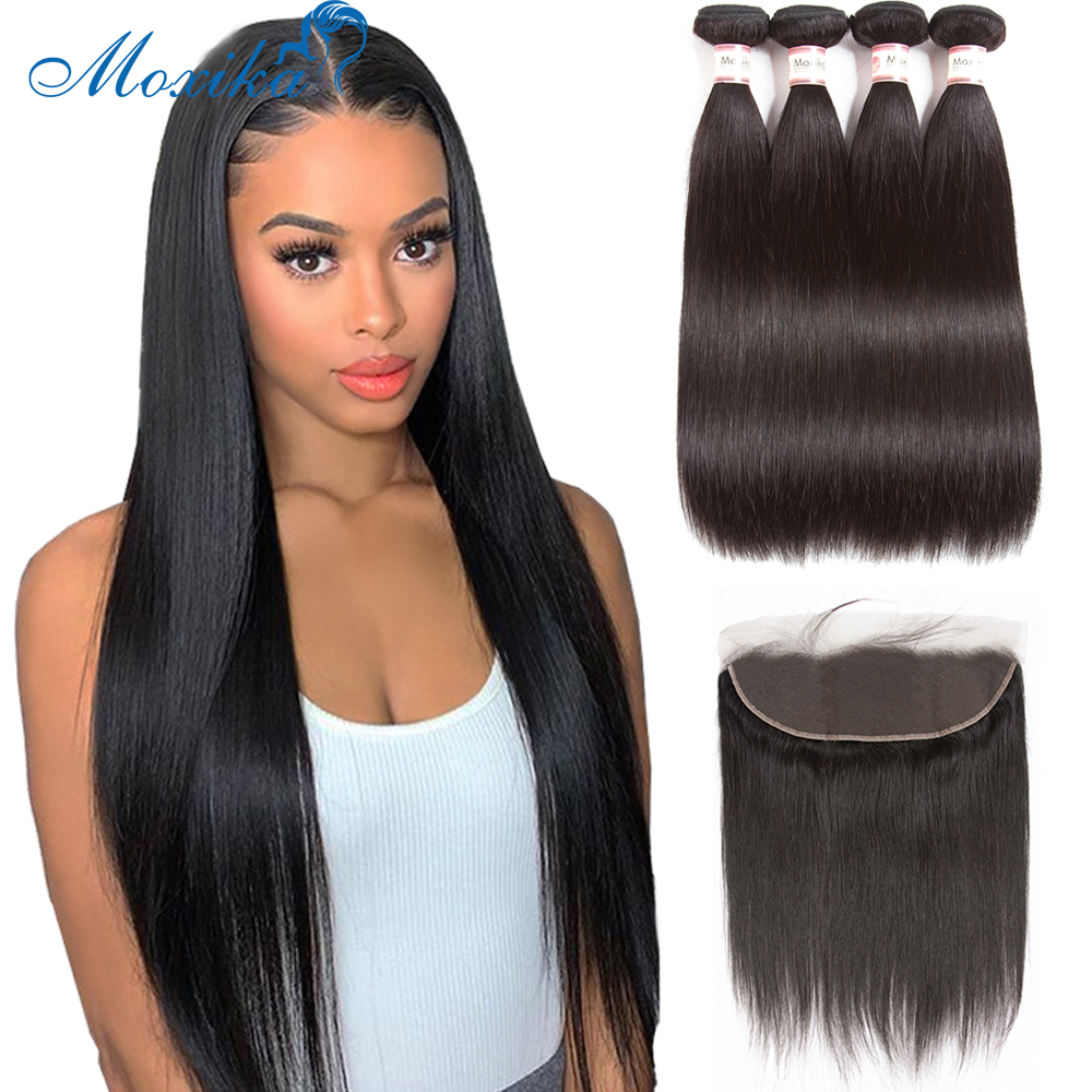 Moxika Brazilian Straight Hair Bundles With Frontal Remy Human Hair 3 Bundles With Closure For Women Lace Frontal With Bundles