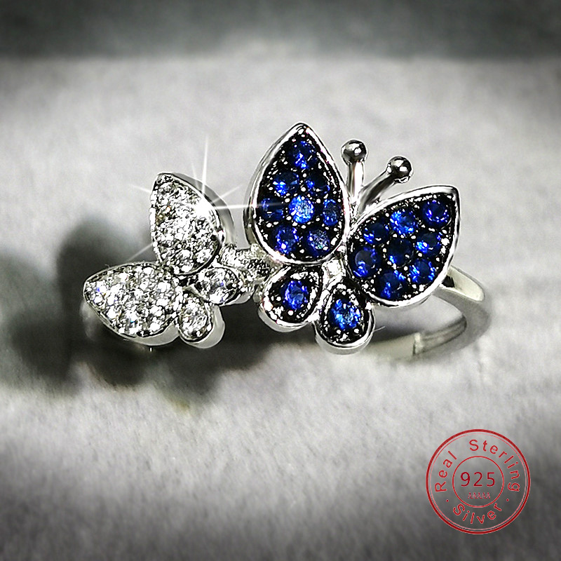 Роскошь sappire женские кольца с настоящими Австрийскими кристаллами блеск бабочки 925 стерлингового серебра Цвет кольца коктейльное, держащих...