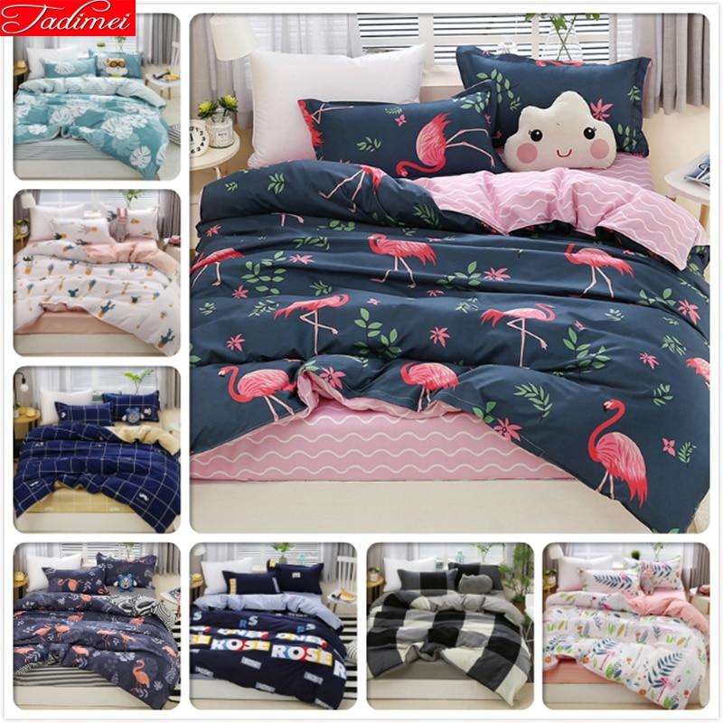 Flamingo Pattern AB Side Duvet Cover 3/4 Pcs Bedding Set Adult Kids Child Soft Bed Linens Single Queen King Size 180x220 200x230
