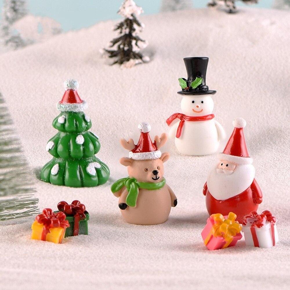 1PC Miniature Christmas Tree Santa Claus Snowmen Terrarium Ornament Gift Fairy Garden Figures Home Table Decor Micro Landscape