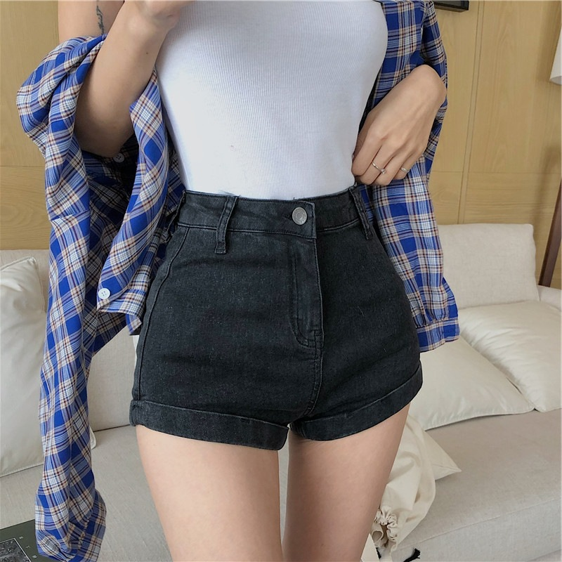 Fox Mrs. Wind 2019 Summer New Style Students Shorts Versatile High-waisted Slimming Elasticity Jeans Women's