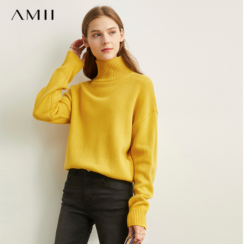 Amii Slouchy Sweaters Women's New Loose Bottoms Autumn Winter Solid Turtleneck Pullover Tops 11920262