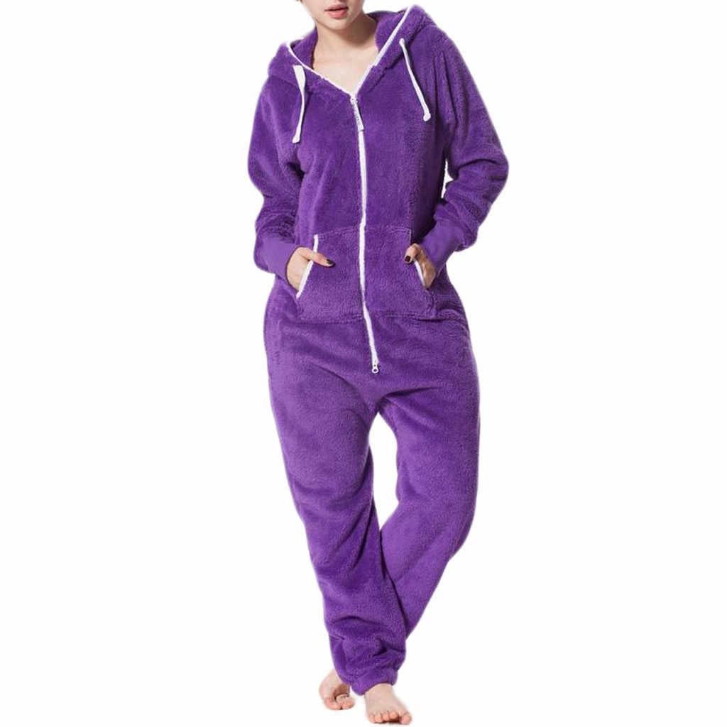 Jaycosin bodysuit womens casual inverno quente solto cor pura confortável escovado pelúcia espessamento zíper uma peça senhora macacão #45