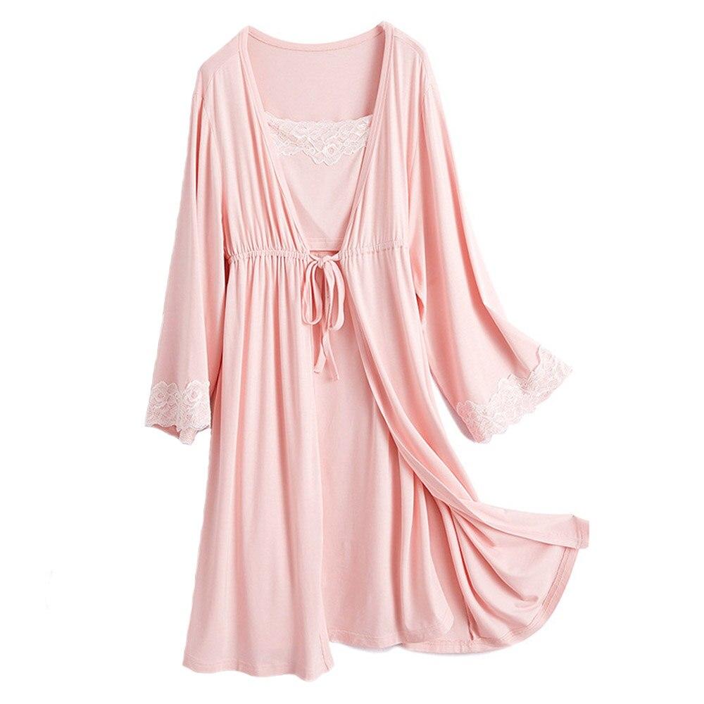 Pregnancy Maternity Sleepwear Nursing Pregnant Breastfeeding Nightgown Elegant Maternity Nursing Dress 2Pcs/Set