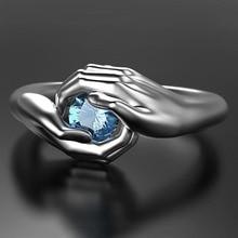 Vinatge Silver Color Wedding Ring Hip Hop Blue Zircon Engagement Ring Punk Male Female Hand Hug Adjustable Rings For Women Men