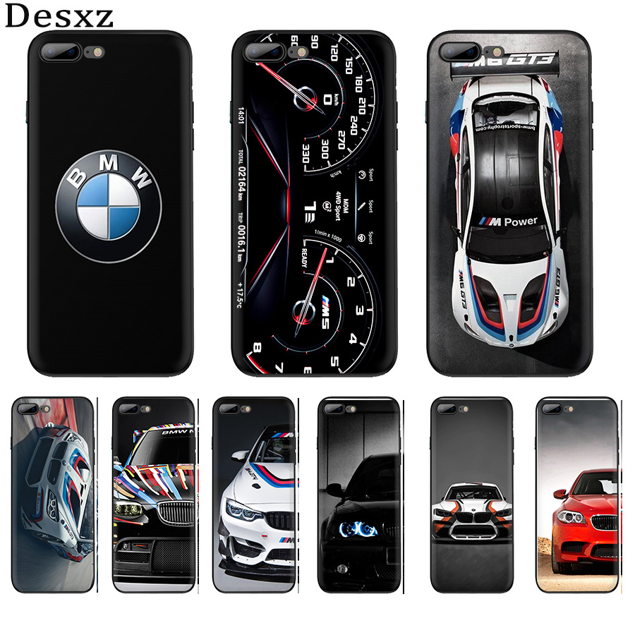 Mobile <font><b>Case</b></font> Silicone Black TPU Shell <font><b>for</b></font> <font><b>iPhone</b></font> 6 6s 7 <font><b>8</b></font> Plus XR XS Max X SE 5 5S <font><b>BMW</b></font> Car Protection Cover image