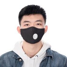 2 Stuks Zwarte Mond Masker Herbruikbare Valved Met 2 Filters Gezichtsmasker Wasbaar Masker Respirator Unisex Facial Maskers Voor Mannen vrouwen