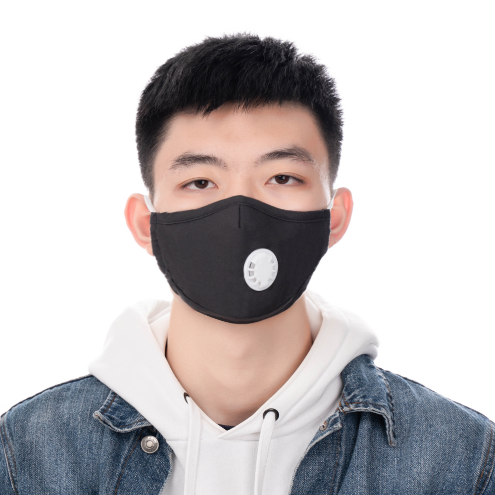 2PCs Black Mouth Mask Reusable Valved With 2 Filters Face Mask Washable Mask Respirator Unisex Facial Masks For Men Women