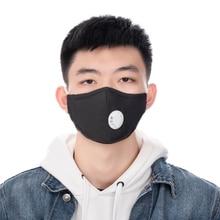 2PCs שחור פה מסכת לשימוש חוזר Valved עם 2 מסנני פנים מסכת רחיץ מסכת הנשמה יוניסקס פנים מסכות לגברים נשים