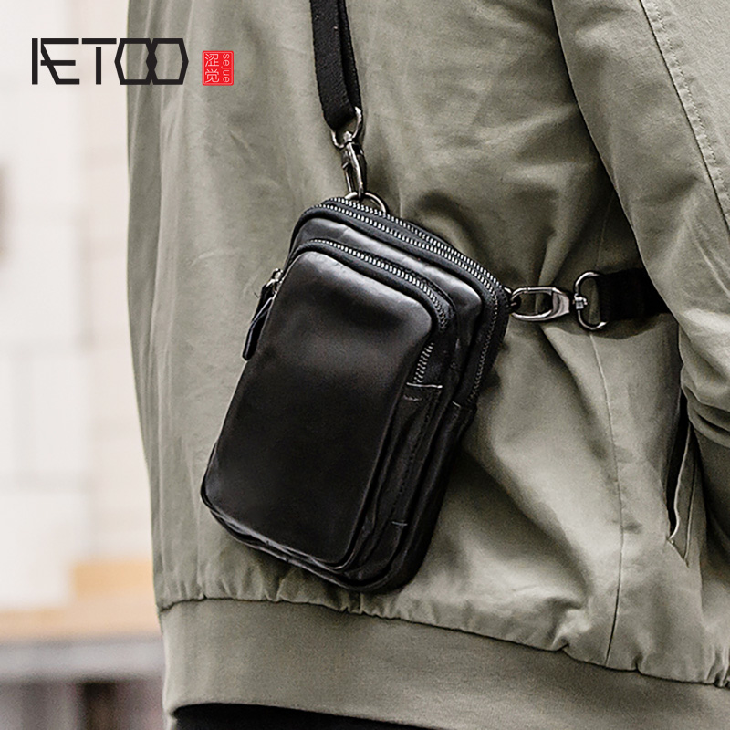 AETOO Leather Men's One-shoulder Bag, Head Leather Casual Stiletto Bag, Trend Small Pocket