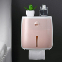 Bathroom Wall mounted Large capacity Multi purpose Moisture proof Tissue Box Double Storage with Shelf Mobile Phone Compartment|Storage Boxes & Bins| |  -