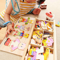 Wooden Puzzle Set Baby Educational Toys Cartoon Little Bear Changing Clothes Puzzles Kids Children's girls baby montessori Toy