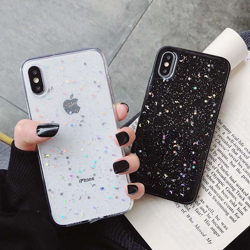 Ottwn glitter phone case for iphone 11 case 11 pro xs max xr x 6 6s 7 8 plus love heart star sequins soft bling clear cover capa