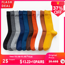2020 New Mens Colour Cotton Socks Plus Size 39 46 Autumn Long Socks For Men Dress Male Gifts Business Casual Deodorant Sox Hot