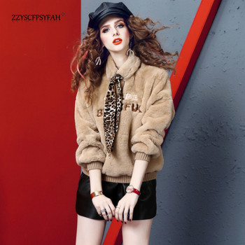 ZP7503 Quality inspection video+spot new high faux rabbit fur embroidered Wei Yi Chao brand loose thin thick velvet shirt