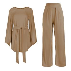 Image 5 - Plusขนาด2ชิ้นชุดผู้หญิงชุดFemme 2ชิ้นเสื้อผ้าชุดสีชมพู2ชิ้นชุดด้านบนและกางเกงRoupa femininasเสื้อผ้าชุด