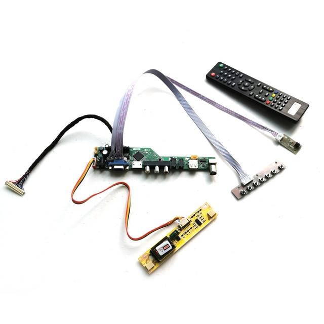 "Fit LM185WH1 2 CCFL Inverter LVDS 30 Pin PC desktop 1366*768 18.5 ""VGA + HDMI + Audio + USB + Fernbedienung LCD screen controller board DIY kit"