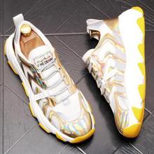 Zapatillas con plataforma Vintage informales doradas para hombre, zapatillas para correr con suela gruesa para hombre, zapatillas para correr de gran calidad para jóvenes y adolescentes
