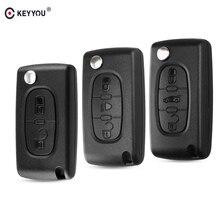 KEYYOU дистанционный ключ чехол для peugeot 207 307 308 407 607 807 для Citroen C2 C3 C4 C5 C6 Флип Складной Корпус для автомобильного ключа 2/3/4 кнопки