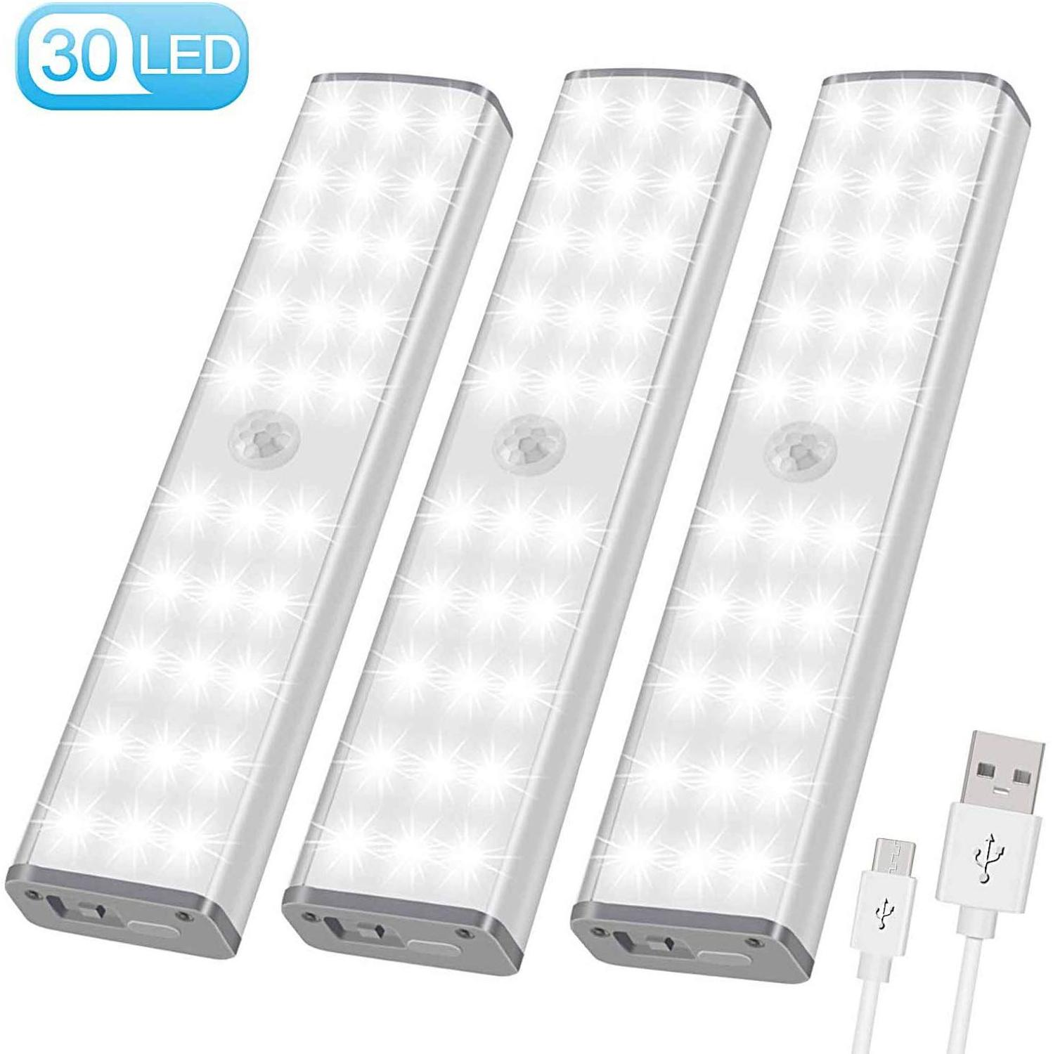 PIR Motion Sensor LED Light USB Wireless LED Kitchen/Wall Lamp 3Mode Brightness Level 30 LED Closet/Wardrobe/Under Cabinet Light