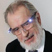 Led lupa vista aumentar brilhante eyewear 160% ampliação usb recarregável diopter lupa 1.6x