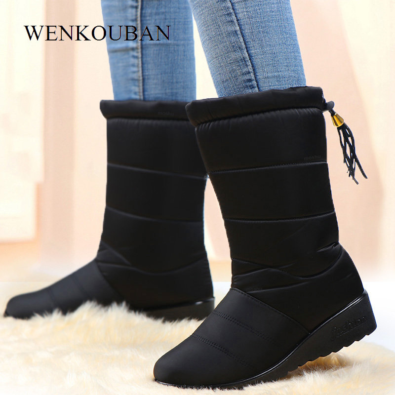 Winter Boots Insole Down-Shoes Warm Female Black Waterproof Mid-Calf Women Ladies Mujer