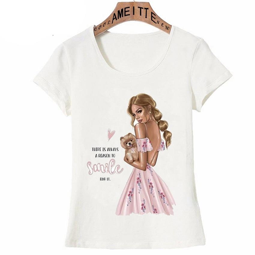 Vintage Paris Fashion Illustration Girl And Pomeranian Dog Print T Shirt Summer Women T Shirt Casual Top Hipster Girl White Tees|T-Shirts|   - AliExpress