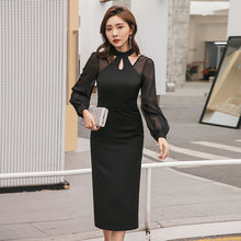 Yigelila осеннее Новое поступление черное платье с круглым вырезом
