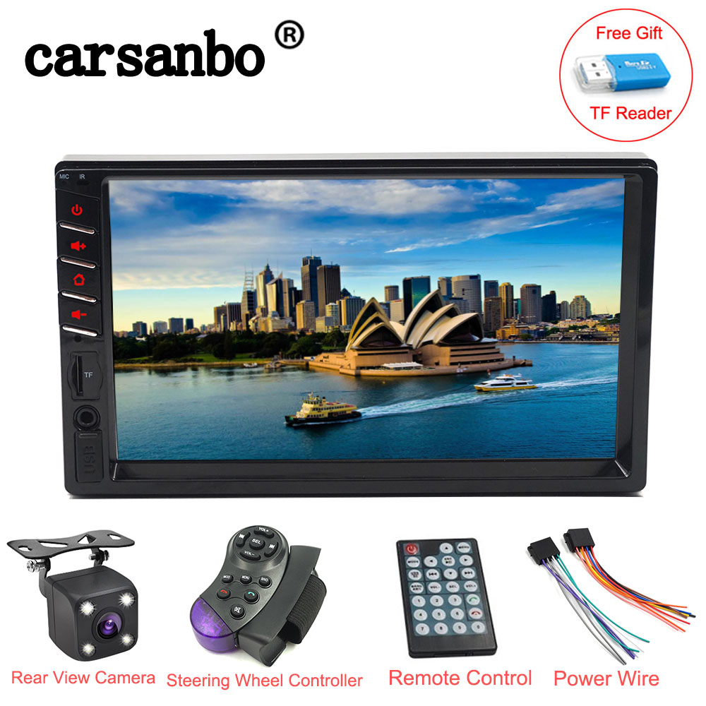 2 din Car Radio 7 inch Player Touch Screen Bluetooth Car MP5 Monitor with Rear view Camera or Steering Wheel Controller optional