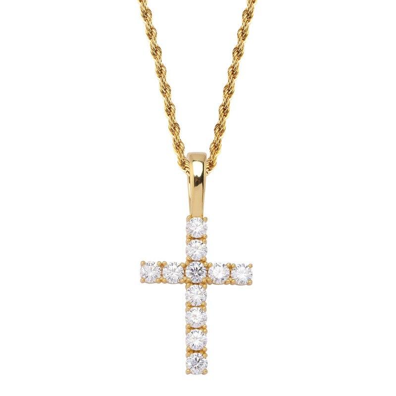 DNSCHIC S925 pendentif en argent Sterling avec Micro-mousse pierre solide croix pendentif Vintage jésus Hip hop bijoux glacé sur collier - 5