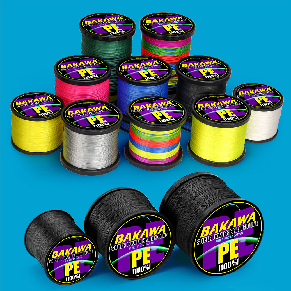 BAKAWA fly Fishing Line  PE Multifilament Carp Fishing Wire SUPER Strong 10-120LB 4 Strands Braided 150M 500M 1000m