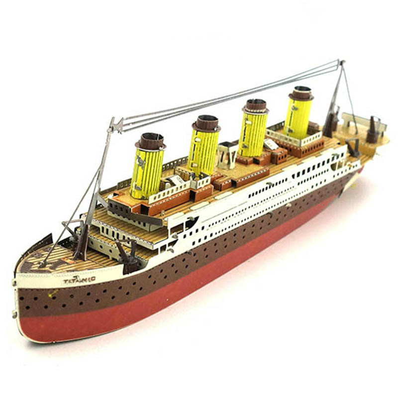 All-metal Stainless Steel DIY Titanic RMS Boat Ship Sets Model Building Kits Blocks DIY 3D Glue-free Educational Kids Toys