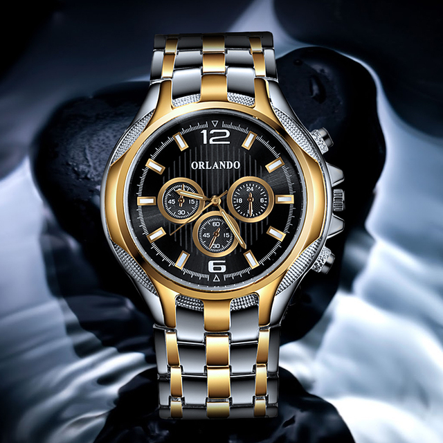 ORLANDO Top Quality Quartz Silver Gold Plated  Mens Stainless Steel  Wristwatch 1
