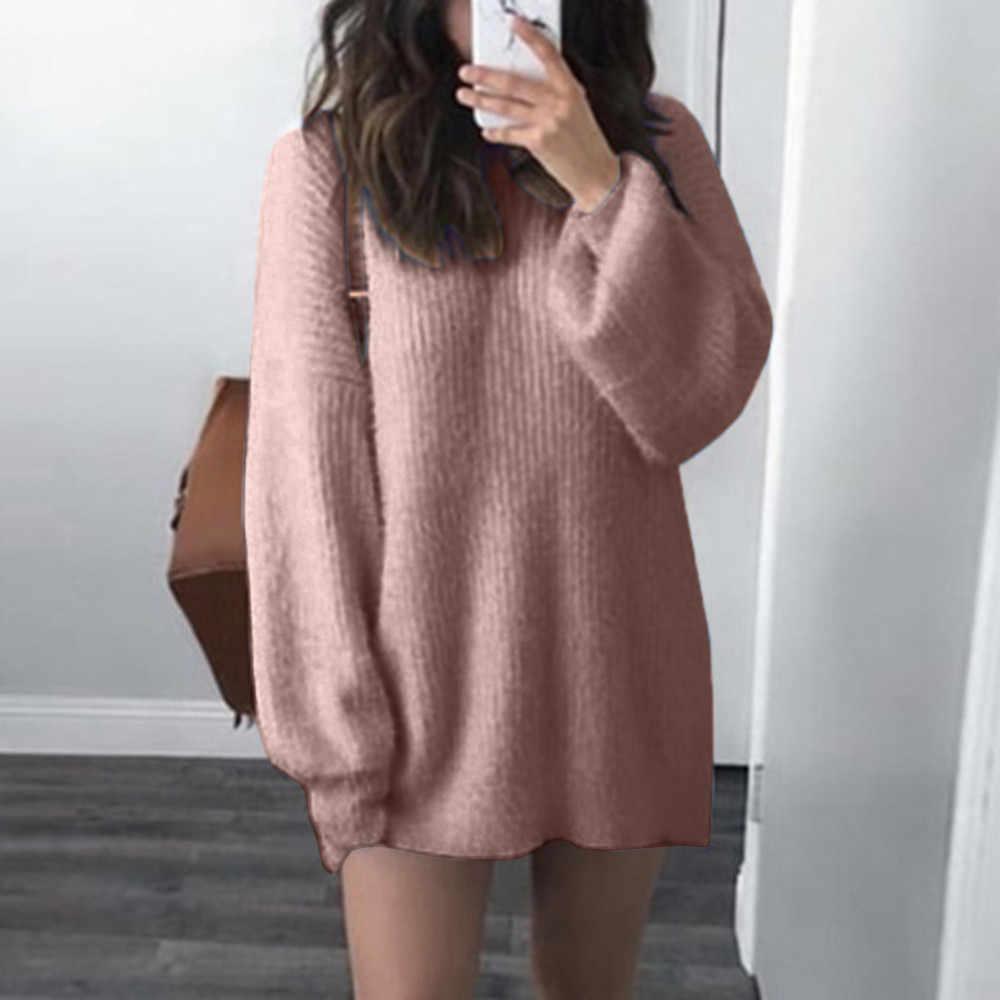 여성 스웨터 솔리드 오-넥 느슨한 니트 따뜻한 긴 latern 슬리브 스웨터 블라우스 숙녀 가을 고품질 여성 스웨터 탑스