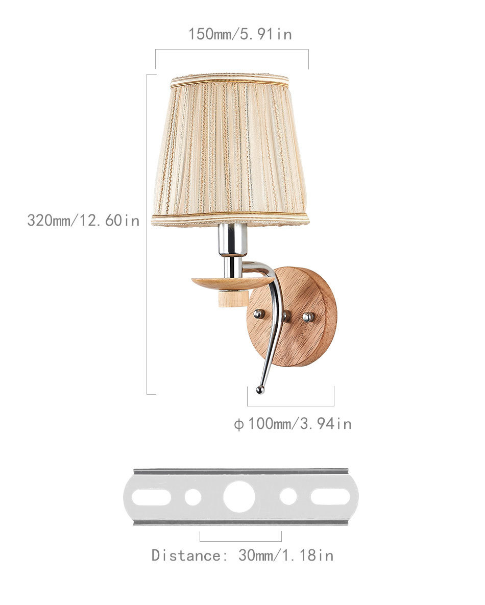 LED Bedside Wall Lamp E14 Bulb Fixtures Wood Aluminum Reading Light Fabric Glass wall Sconce Living Room Bedroom Indoor Lighting (7)