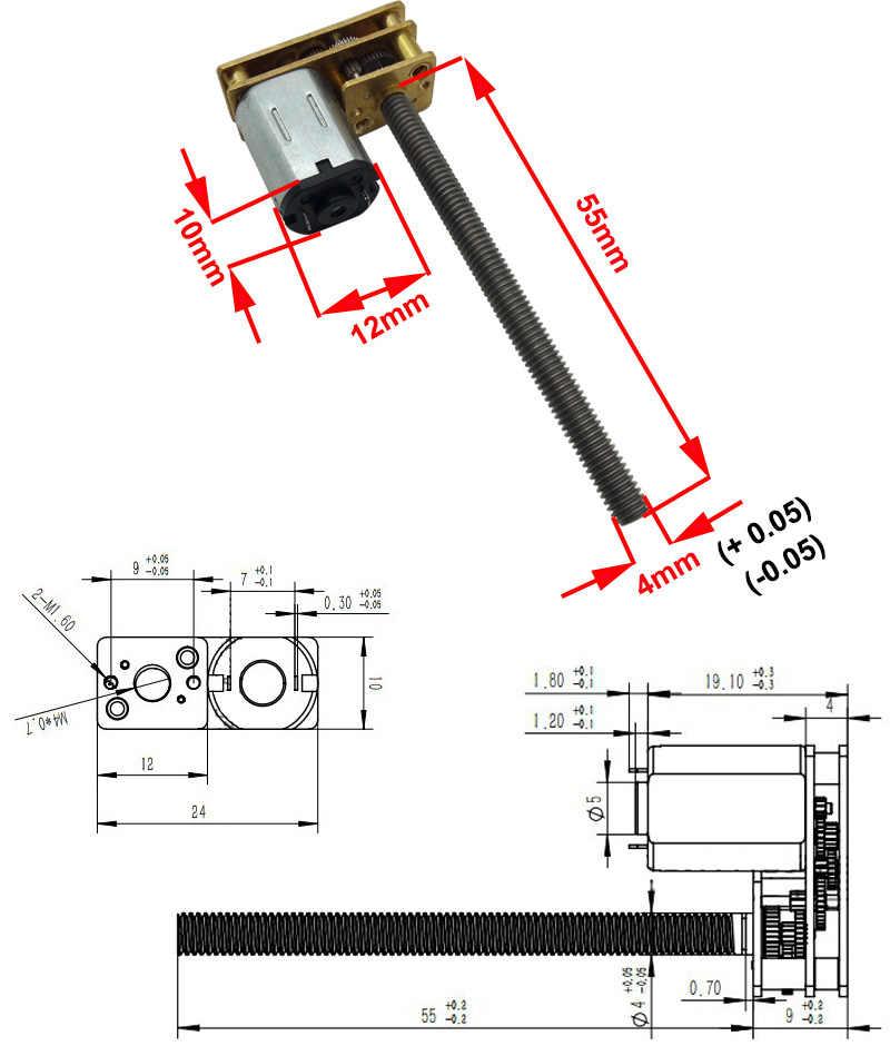 1024GN20 MINI เพลาแบบเกลียว M4 55MM DC มอเตอร์เกียร์ 3V 6V 12V DC มอเตอร์ปรับความเร็วย้อนกลับสำหรับหุ่นยนต์ประตูล็อค